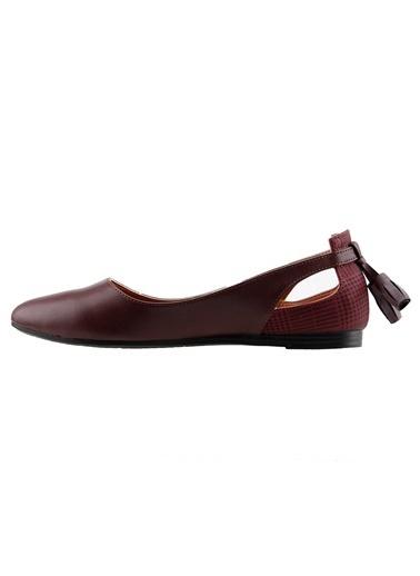 Ayakland Ayakland 1920-204 Günlük Fiyonklu Sandalet Bayan Cilt Babet Ayakkabı Bordo